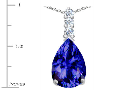 Star K Pear Shape Simulated Tanzanite Pendant Necklace Sterling Silver