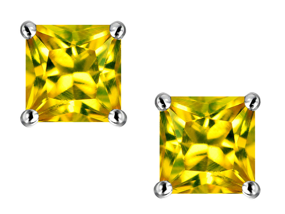 Star K Square 7mm Simulated Yellow Sapphire Earrings Sterling Silver