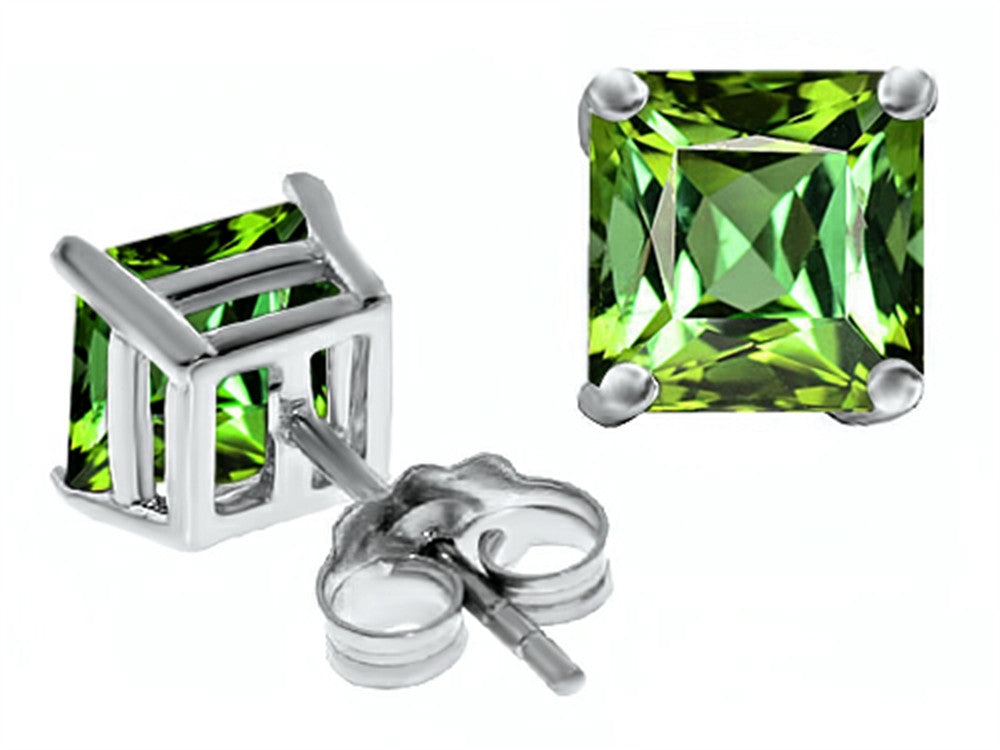Star K Square 7mm Simulated Green Tourmaline Earrings Sterling Silver