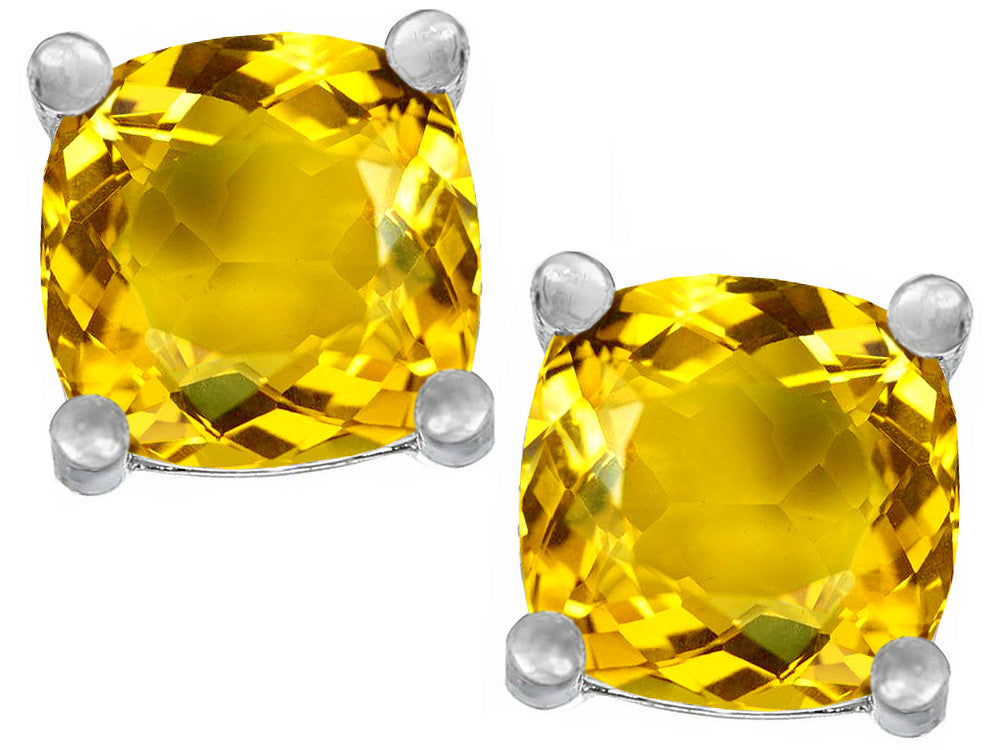 Star K Cushion-Cut 7mm Simulated Citrine Earrings Studs Sterling Silver