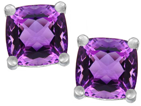 Star K Cushion-Cut 7mm Simulated Amethyst Earrings Studs Sterling Silver