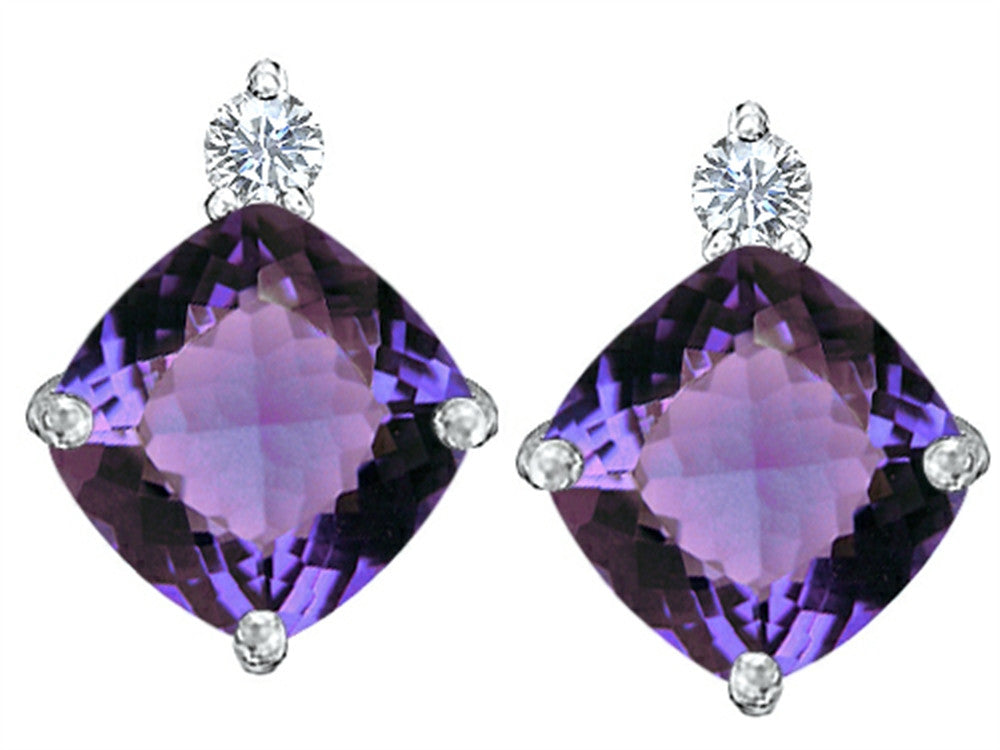 Star K 7mm Cushion-Cut Simulated Alexandrite Earrings Studs Sterling Silver
