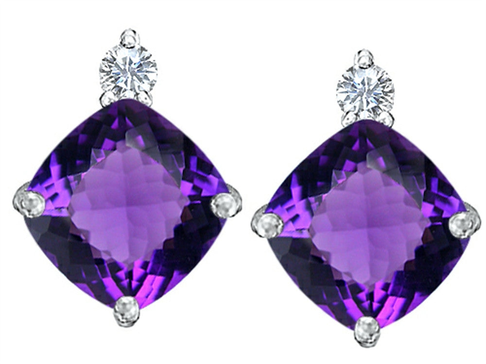 Star K 7mm Cushion-Cut Simulated Amethyst Earrings Studs Sterling Silver