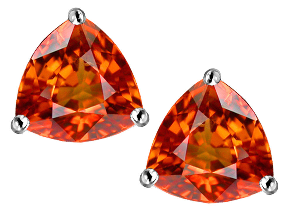 Star K Trillion 7mm Simulated Orange Mexican Fire Opal Earrings Studs Sterling Silver