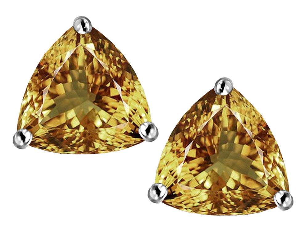 Star K Trillion 7mm Simulated Imperial Yellow Topaz Earrings Studs Sterling Silver