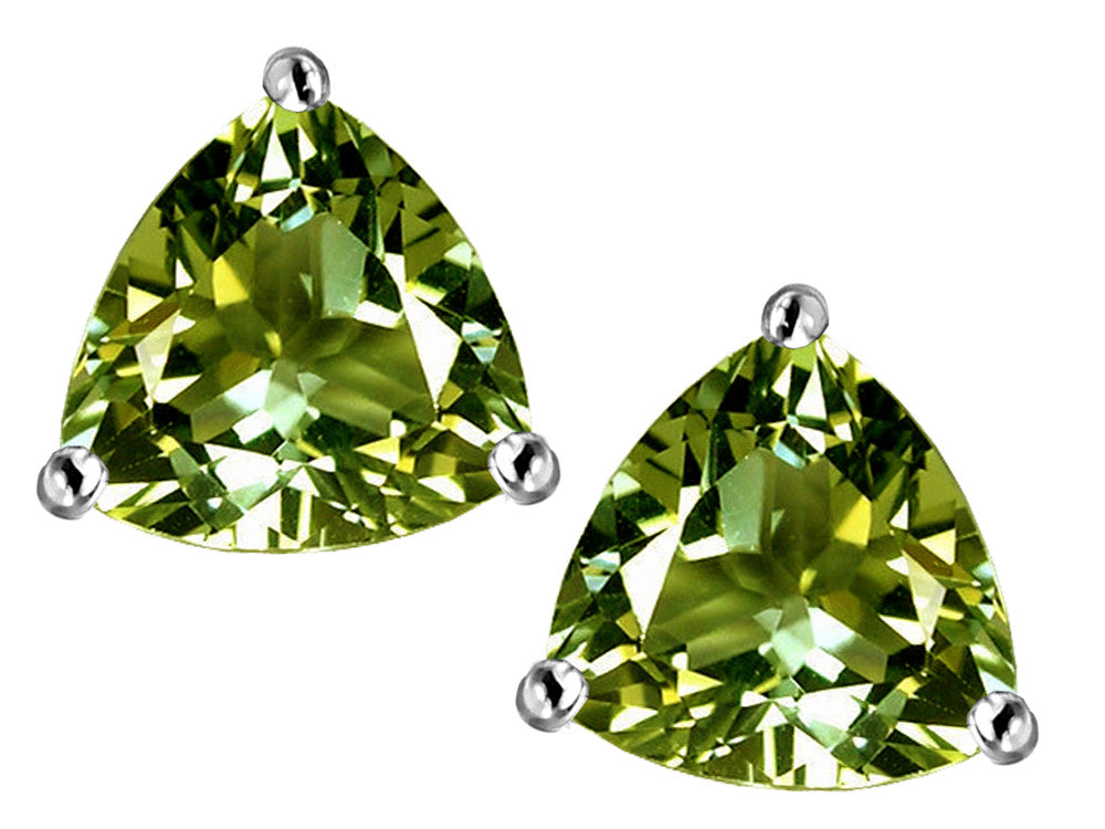 Star K Trillion 7mm Simulated Green Tourmaline Earrings Studs Sterling Silver