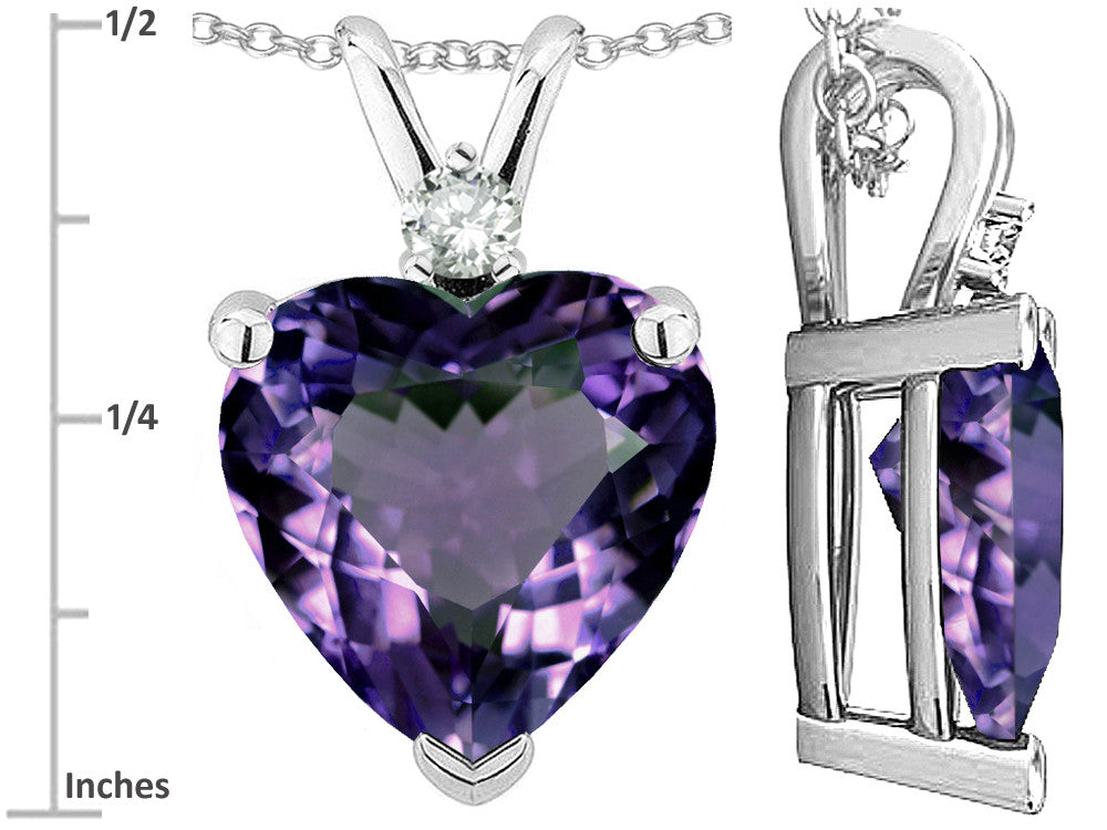Star K 8mm Heart Shape Simulated Alexandrite Pendant Necklace 14k