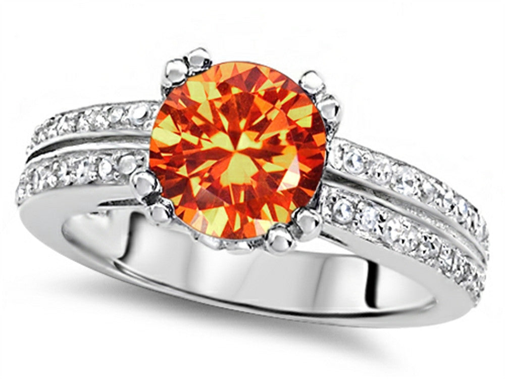 Star K Round 7mm Simulated Orange Mexican Fire Opal Wedding Ring Sterling Silver Size 8