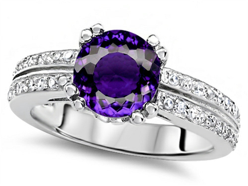 Star K Round 7mm Genuine Amethyst Wedding Ring Sterling Silver Size 8