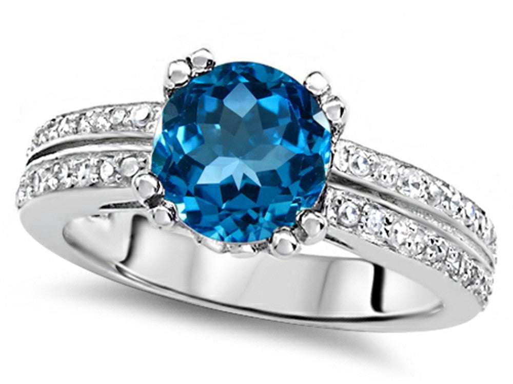 Star K Round 7mm Genuine Blue-Topaz Wedding Ring Sterling Silver Size 8