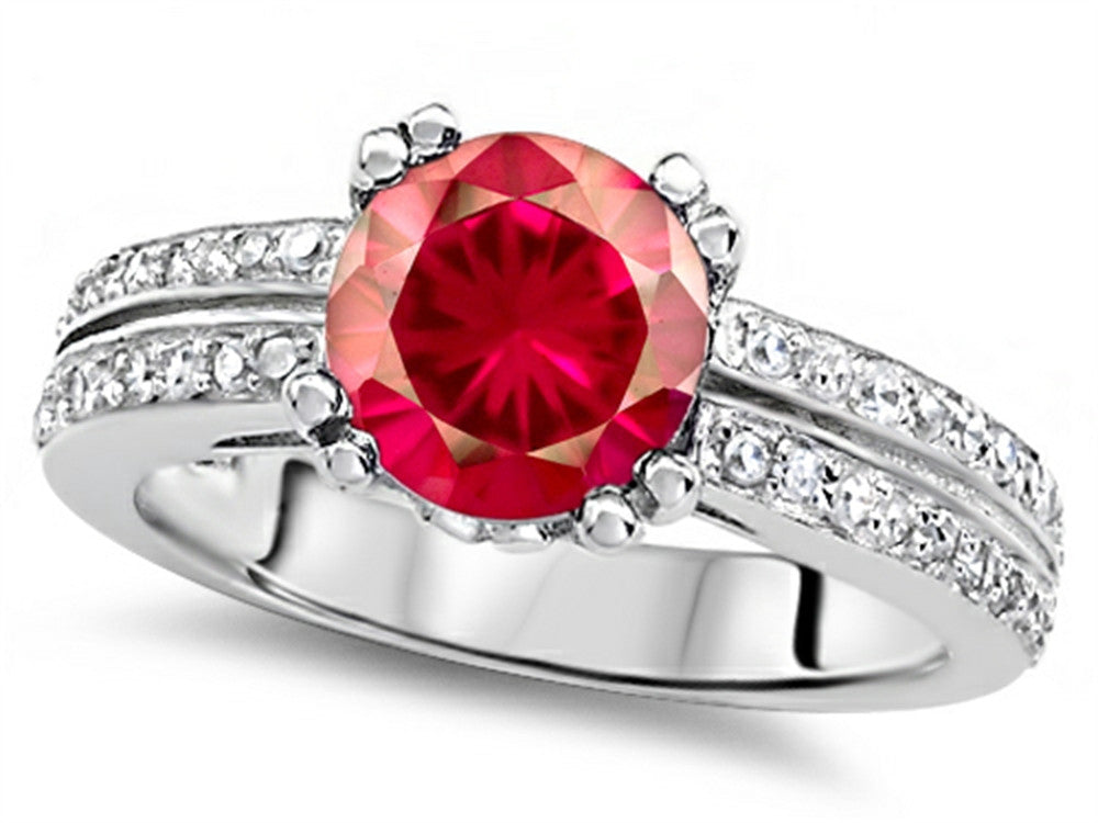 Star K Round 7mm Created Ruby Wedding Ring Sterling Silver Size 8