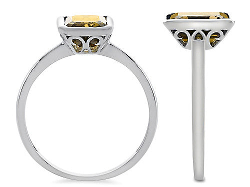 8x6mm Emerald Octagon Cut Genuine Citrine Engagement Solitaire Ring 10k Size 8