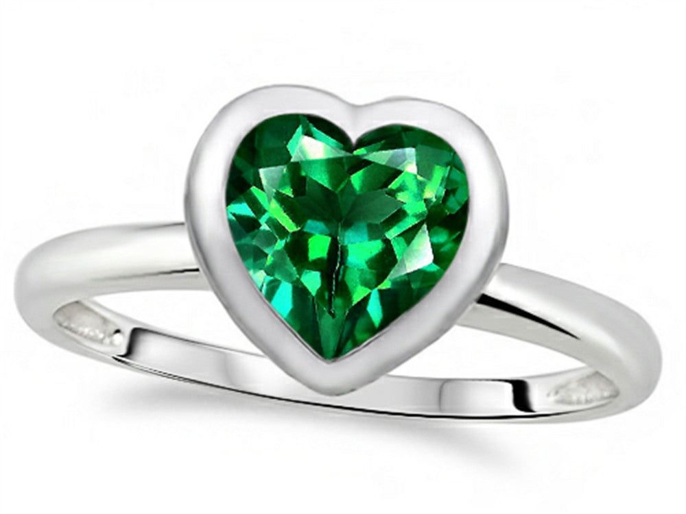 7mm Heart-Shape Simulated Emerald Engagement Solitaire Ring 10k Size 8