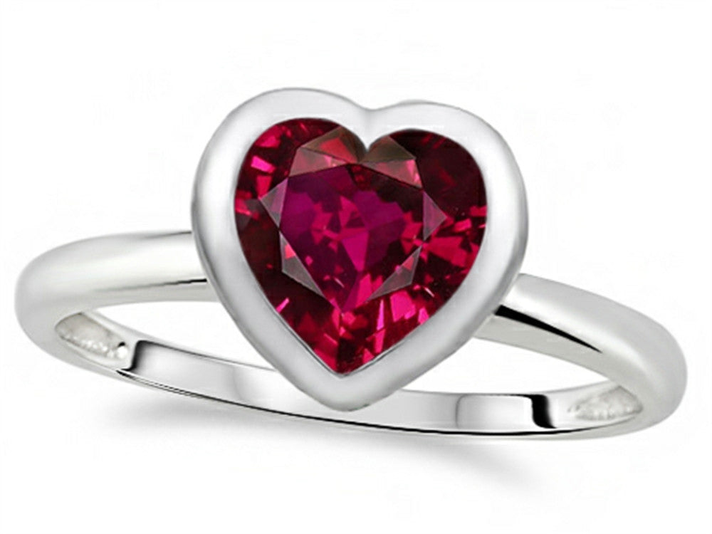 7mm Heart-Shape Created Ruby Engagement Solitaire Ring 10k Size 8