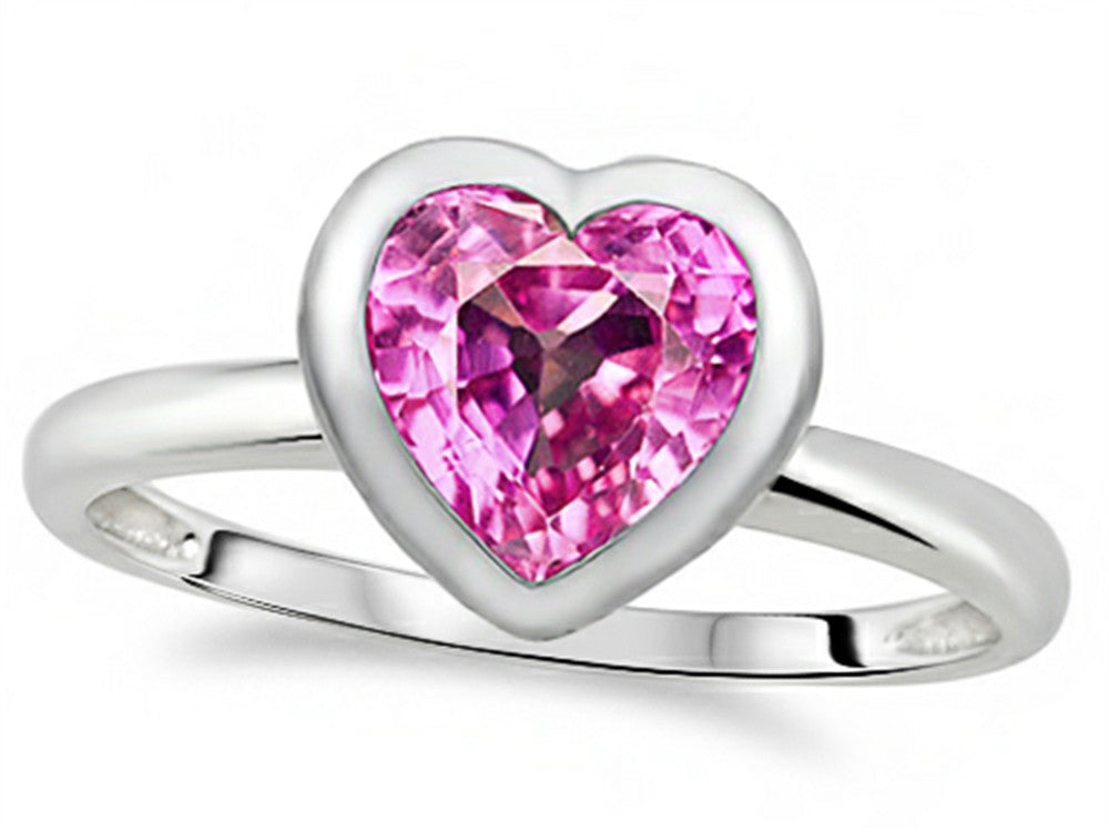7mm Heart-Shape Created Pink Sapphire Engagement Solitaire Ring 10k Size 8