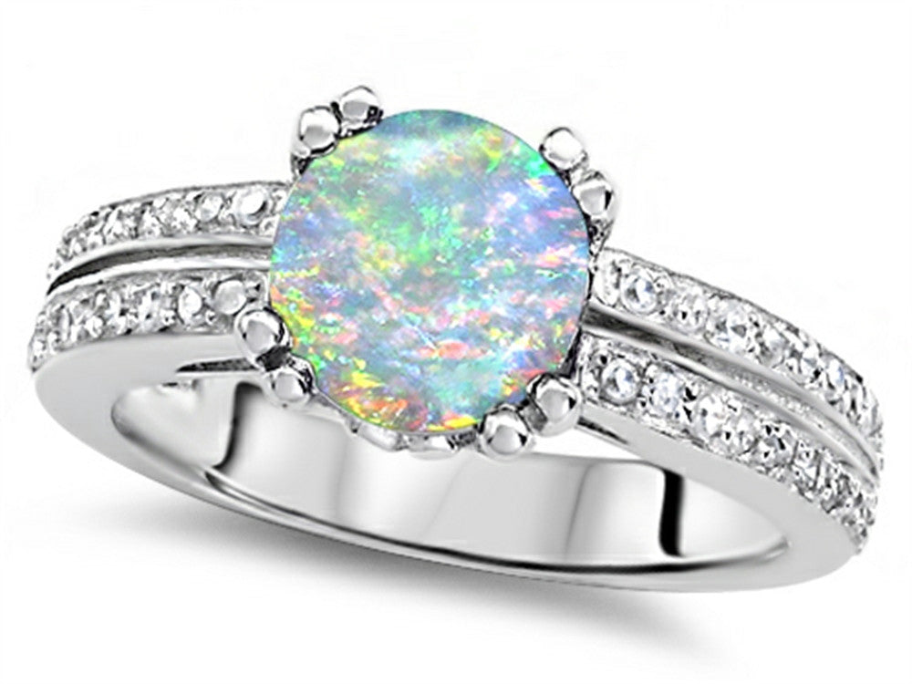 Star K Round 7mm Simulated Opal Wedding Ring Sterling Silver Size 8