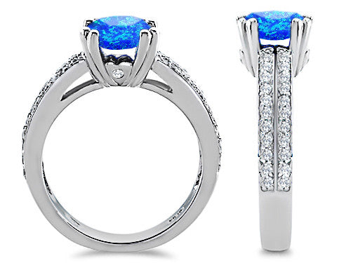 Star K Round 7mm Simulated Blue Opal Wedding Ring Sterling Silver Size 8