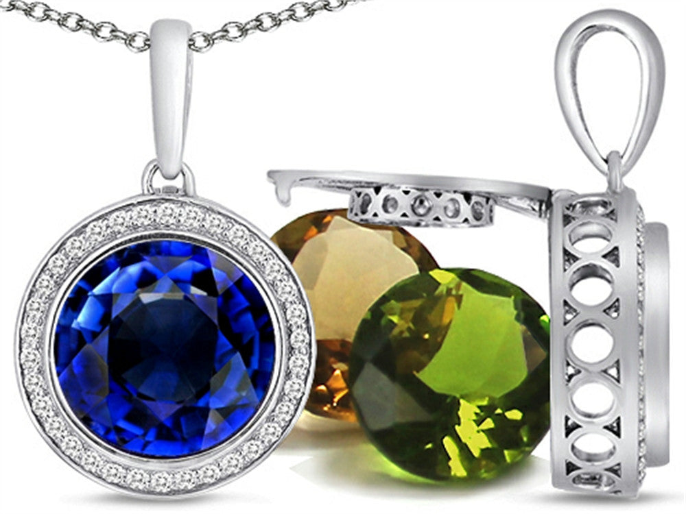 Switch-It Gems Round 10mm Simulated Sapphire Pendant Necklace Total of 12 Simulated Stones Sterling Silver