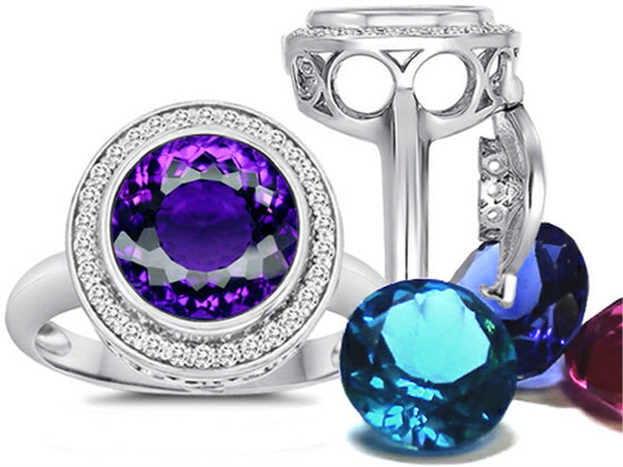 Switch-It Gems Round 10mm Simulated Amethyst Ring with 12 Simulated Birth Months Sterling Silver Size 8