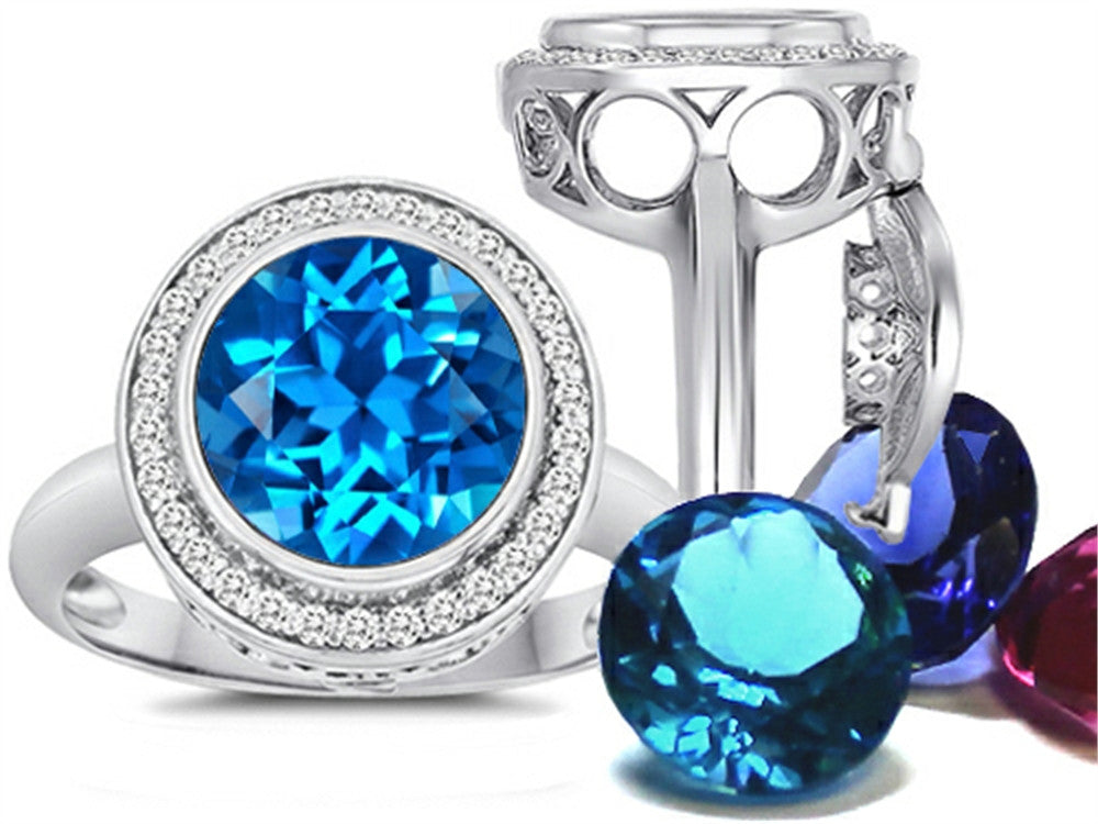 Switch-It Gems Round 10mm Simulated Blue-Topaz Ring with 12 Simulated Birth Months Sterling Silver Size 8