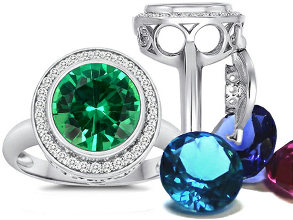Switch-It Gems Round 10mm Simulated Emerald Ring with 12 Simulated Birth Months Sterling Silver Size 8