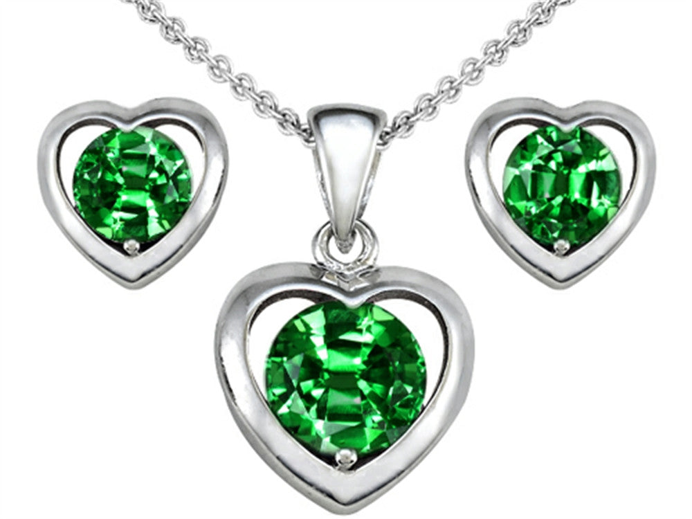 Star K Round Simulated Emerald Heart Earrings with matching Pendant Sterling Silver
