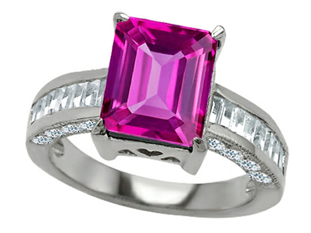 Star K 10x8mm Emerald Cut Created Pink Sapphire Ring Sterling Silver Size 8