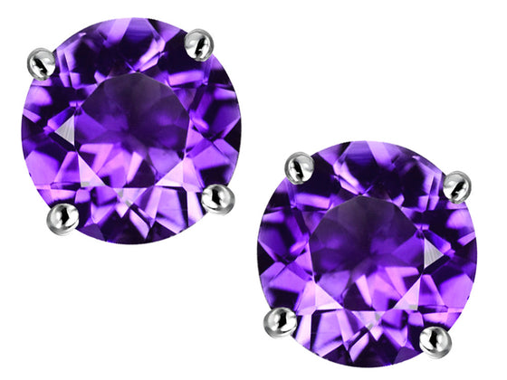 Star K 7mm Round Simulated Amethyst Earrings Studs Sterling Silver