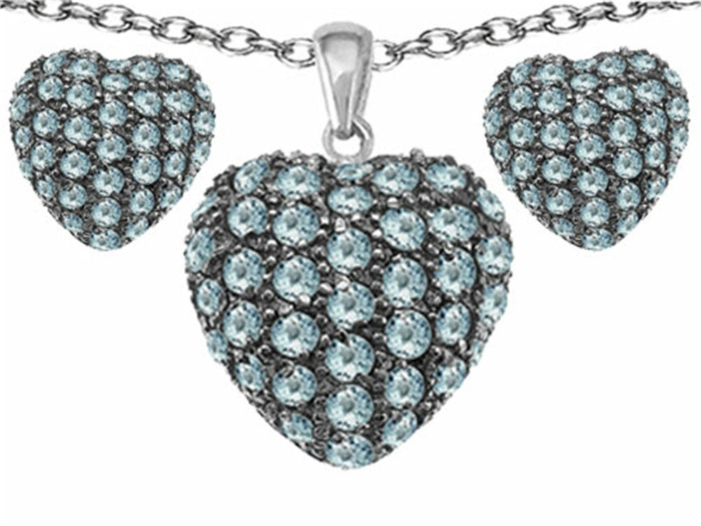 Star K Simulated Aquamarine Puffed Heart Love Pendant with matching earrings Sterling Silver