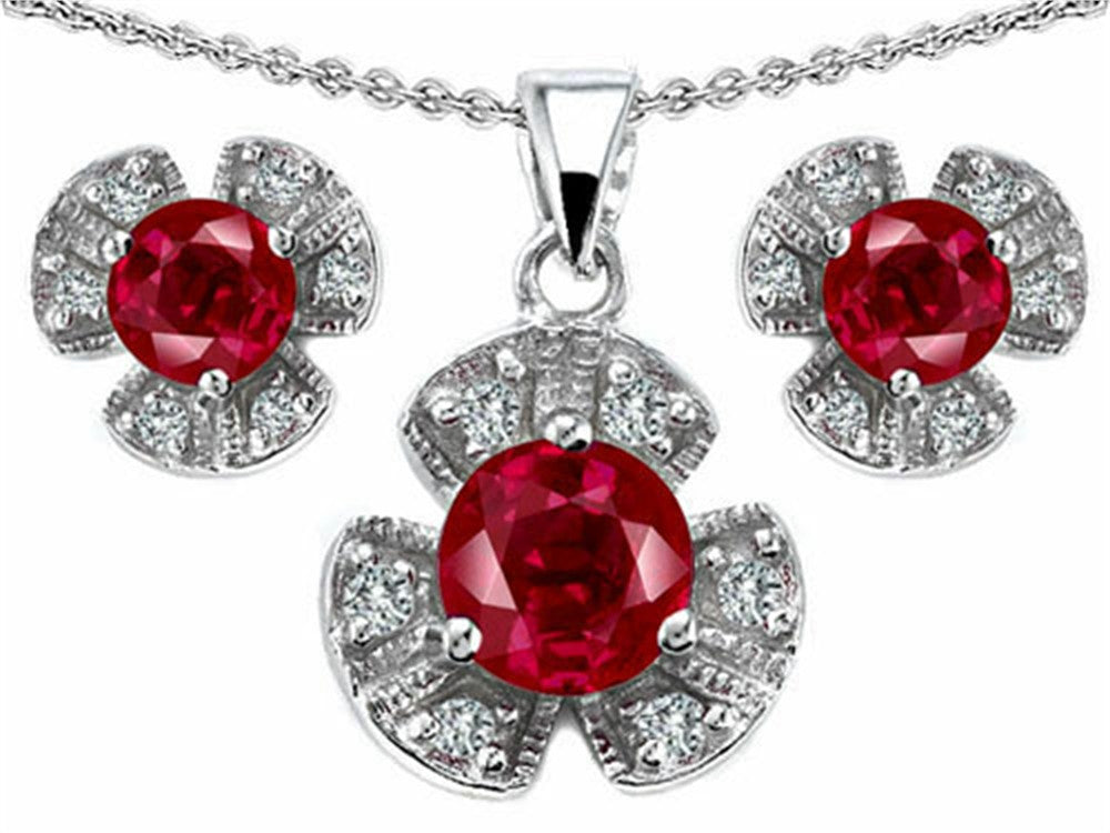 Star K Created Ruby Flower Pendant with Matching Earrings Sterling Silver