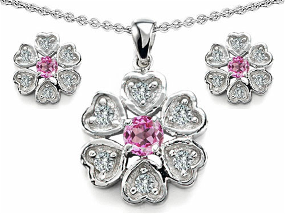 Star K Created Pink Sapphire Flower Pendant with Matching Earrings Sterling Silver