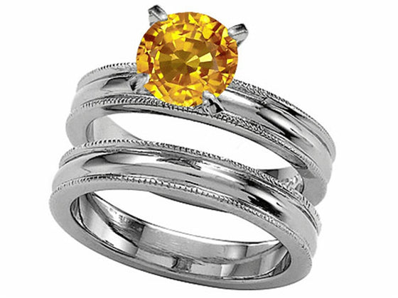 Star K 7mm Round Simulated Yellow Sapphire Wedding Set Sterling Silver Size 8