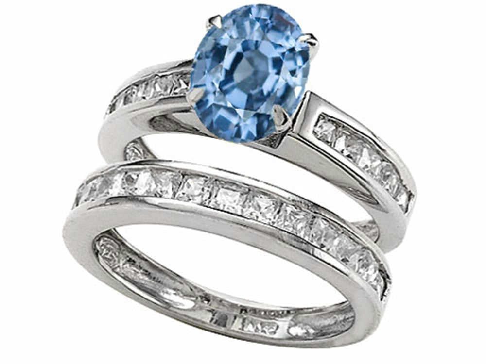 Star K 8x6mm Oval Simulated Aquamarine Wedding Set Sterling Silver Size 8
