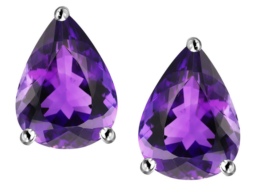 Star K Pear Shape Simulated Amethyst Earrings Studs Sterling Silver