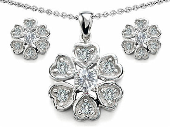 Star K Cubic Zirconia Flower Pendant with Matching Earrings Sterling Silver