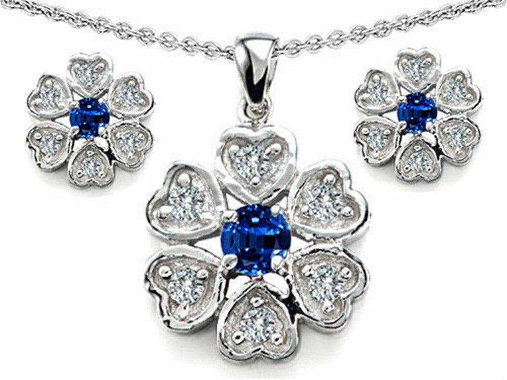 Star K Created Sapphire Flower Pendant with Matching Earrings Sterling Silver