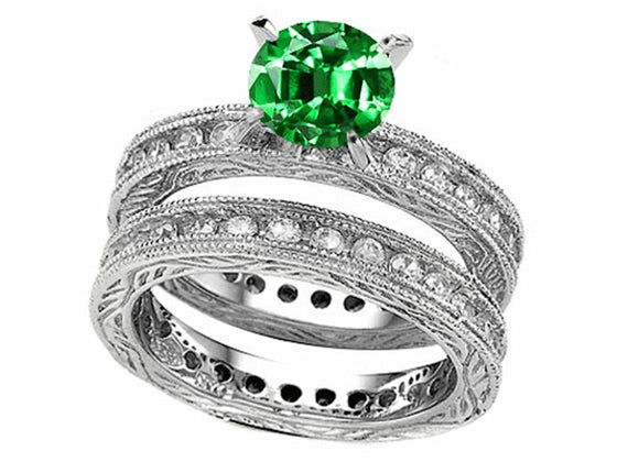 Star K 7mm Round Simulated Emerald Eternity Wedding Set Sterling Silver Size 8