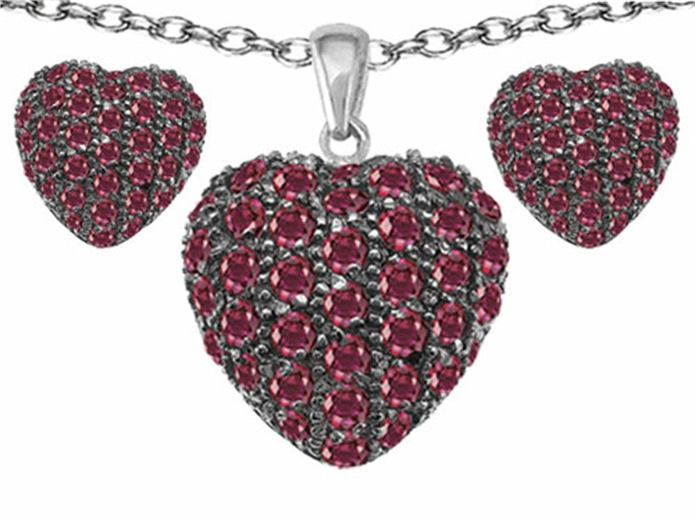 Star K Created Ruby Puffed Heart Love Pendant with matching earrings Sterling Silver