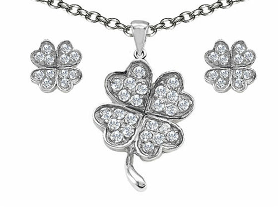 Celtic Cubic Zirconia Lucky Clover Pendant with matching earrings Sterling Silver