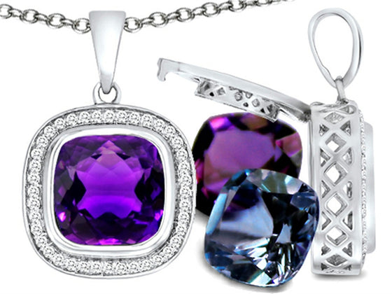 Switch-It Gems Cushion-Cut 10mm Simulated Amethyst Pendant Necklace with 12 Simulated Birth Months Sterling Silver