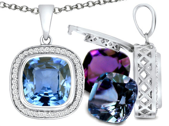 Switch-It Gems Cushion-Cut 10mm Simulated Aquamarine Pendant Necklace with 12 Simulated Birth Months Sterling Silver