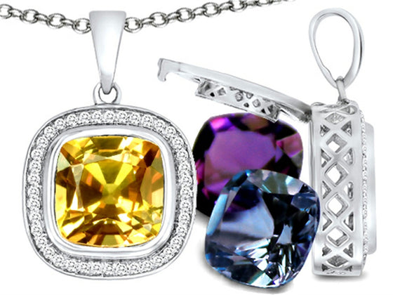 Switch-It Gems Cushion-Cut 10mm Simulated Citrine Pendant Necklace with 12 Simulated Birth Months Sterling Silver