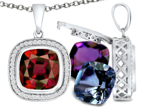 Switch-It Gems Cushion-Cut 10mm Simulated Garnet Pendant Necklace with 12 Simulated Birth Months Sterling Silver
