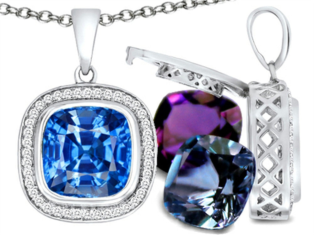 Switch-It Gems Cushion-Cut 10mm Simulated Blue-Topaz Pendant Necklace with 12 Simulated Birth Months Sterling Silver