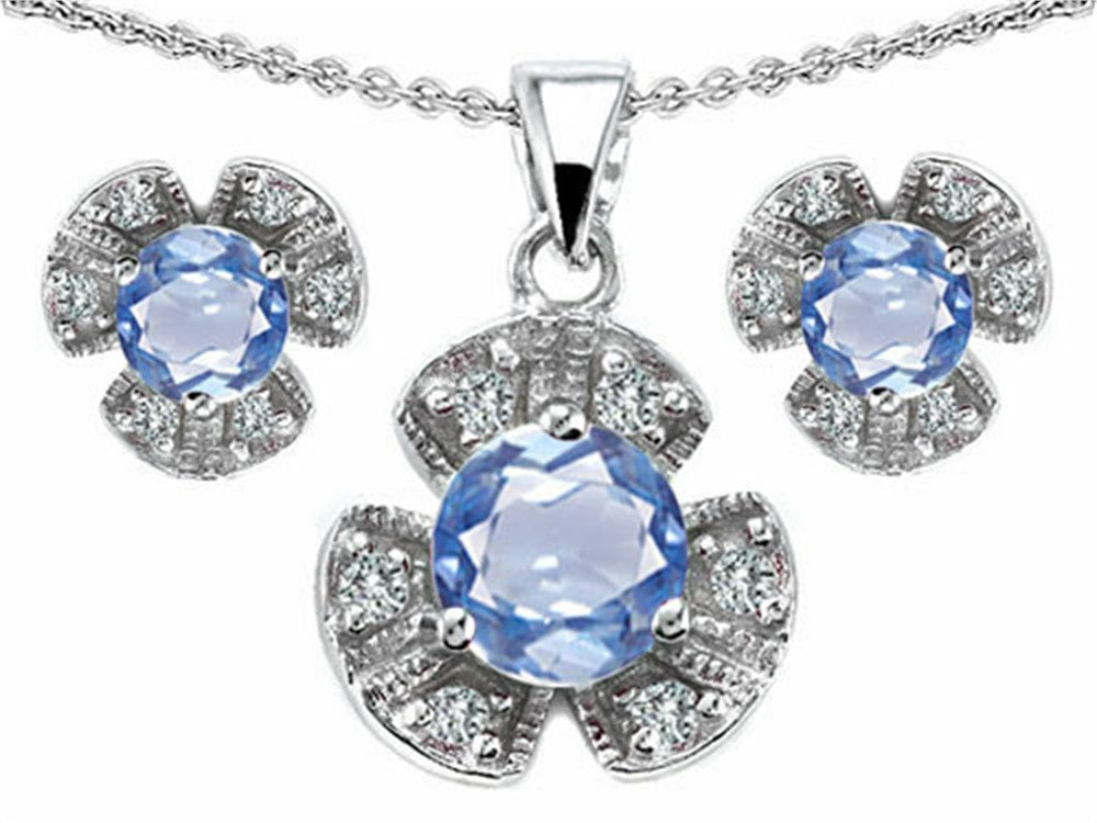 Star K Simulated Aquamarine Flower Pendant with Matching Earrings Sterling Silver