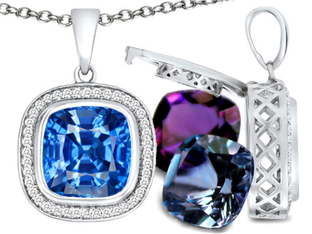 Switch-It Gems Simulated Blue-Topaz Pendant Necklace Set with 12 Cushion-Cut 10mm Simulated Birth Month Sterling Silver