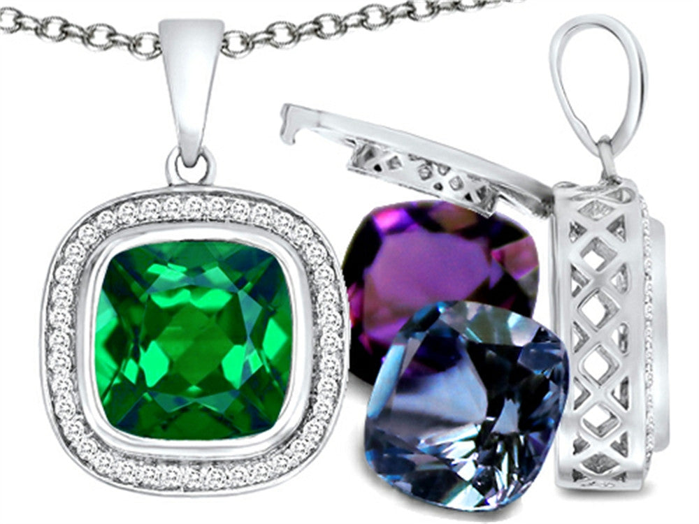 Switch-It Gems Simulated Emerald Pendant Necklace Set with 12 Cushion-Cut 10mm Simulated Birth Months I Sterling Silver