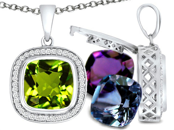 Switch-It Gems Simulated Peridot Pendant Necklace 12 Cushion-Cut 10mm Simulated Birth Months Sterling Silver