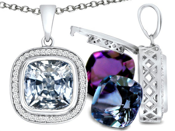 Switch-It Gems Simulated White Topaz Pendant Necklace Set with 12 Cushion-Cut 10mm Simulated Birth Mont Sterling Silver