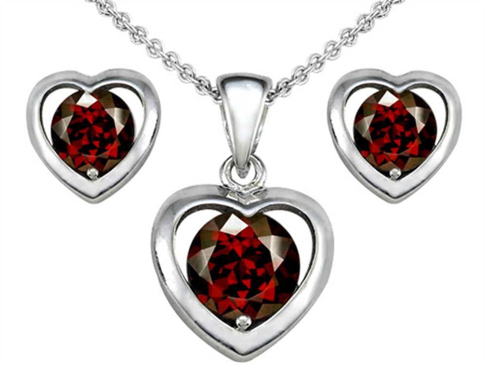Star K Simulated Garnet Heart Earrings with matching Pendant Sterling Silver